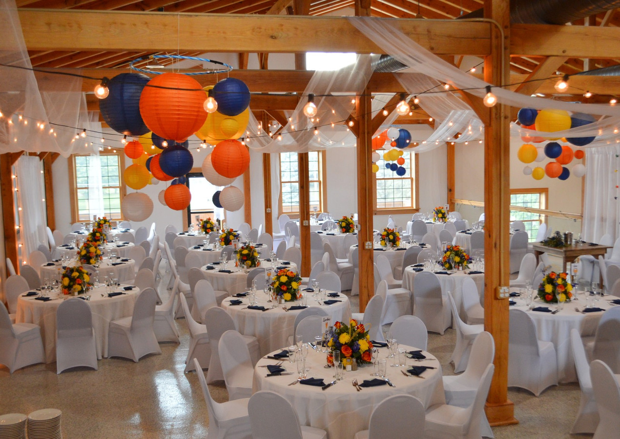 Blue Yellow and Orange Wedding Decor