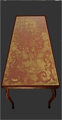 tavolo in noce e vetro stratificato in foglia d'oro