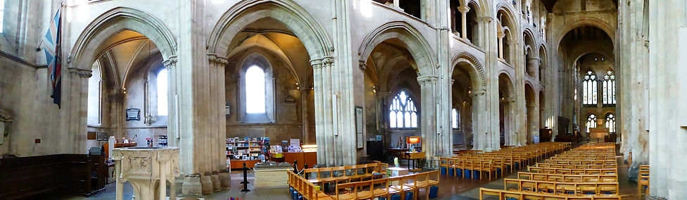 Interior Romsey Abbey - north and east.  Panorama Photo:- Roy Romsey
