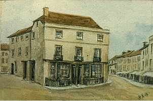 Painting of historic view of the Cornmarket at Romsey Hampshire UK