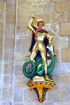 The Footer memorial ,George and Dragron in Romsey Abbey. Photo:- Roy Romsey