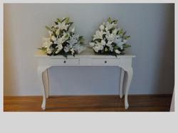 White Orientals, Roses and Gladioli Church Arrangements