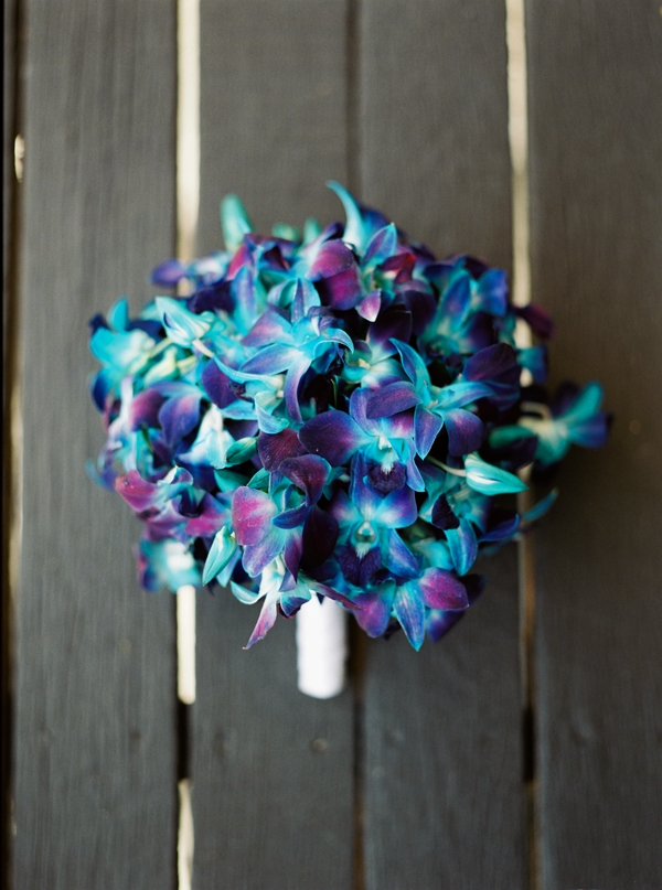 Bridal Bouquet of blue galaxy orchids