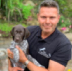 Paul Hodgkinson vet physio me and puppy. Dog physio, canine physio