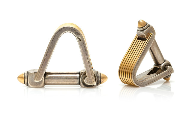 French Triangle Cufflinks Front View
