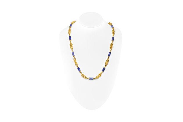 Italian Lapis Necklace On Neck View