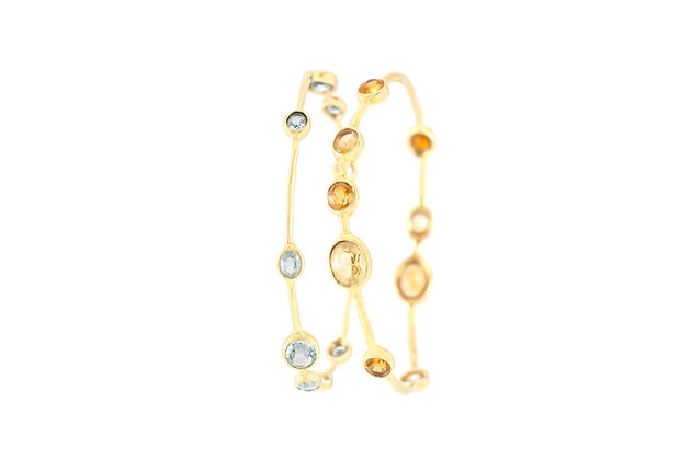 Two Ippolita Bangles with Citrine and Aquamarine