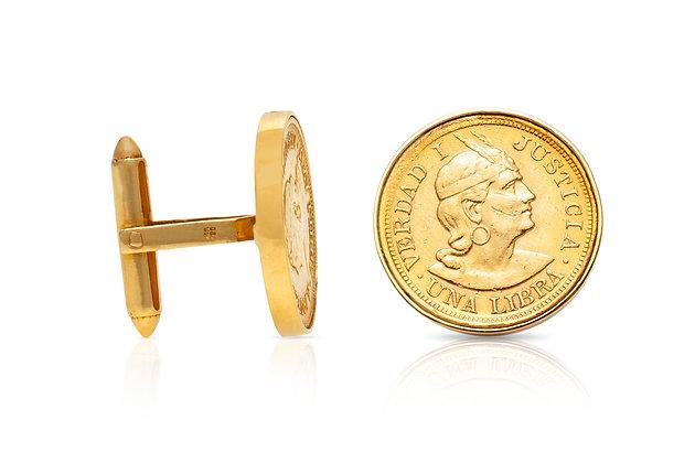 Peruvian Coin Cufflinks Close-up View