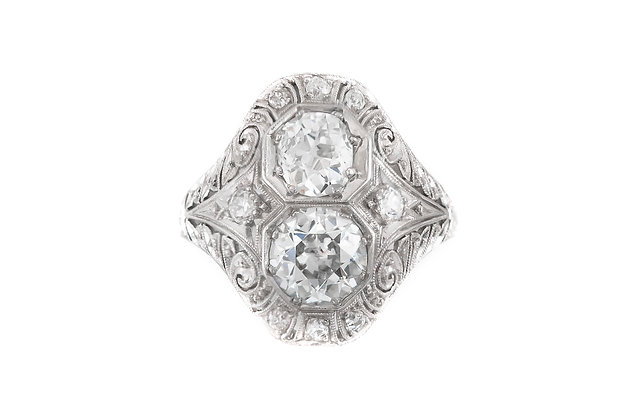 1930's Filigree with Diamonds Ring