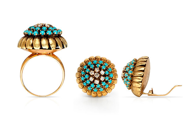 Turquoise Diamond Earrings Ring Set Front View