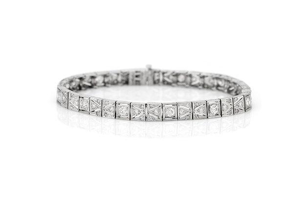 Platinum Diamond Art Deco Bracelet Front View