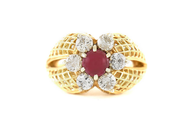 1970s Center Ruby and Diamond Ring
