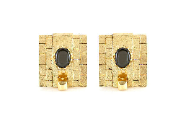 Gold Cufflinks with Onyx front