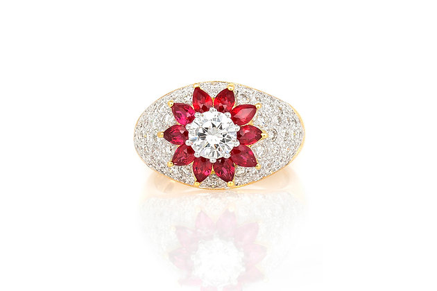 1.00 Carat Oval Shaped Ruby & Diamond Ring top view
