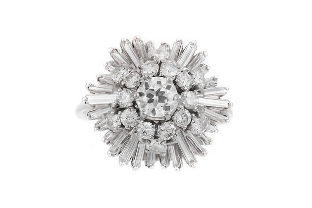 1950's Baguettes and Round Diamonds on Flower Setting Ring
