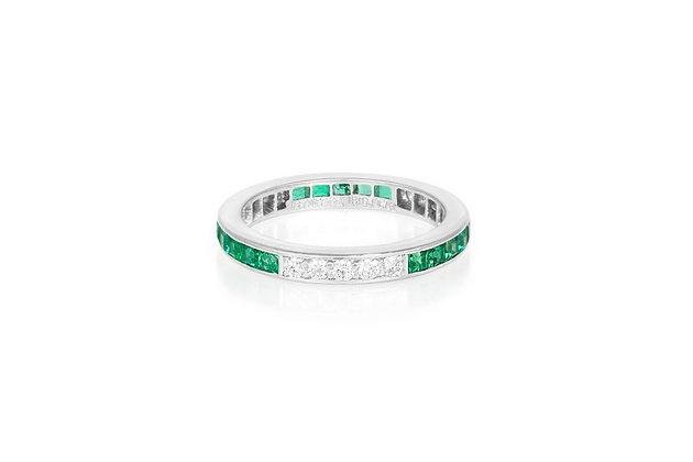 Tiffany & Co. Emerald Diamond Wedding Band front view