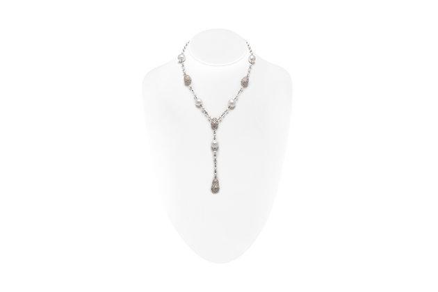 Diamond Pearl Drop Necklace Neck View