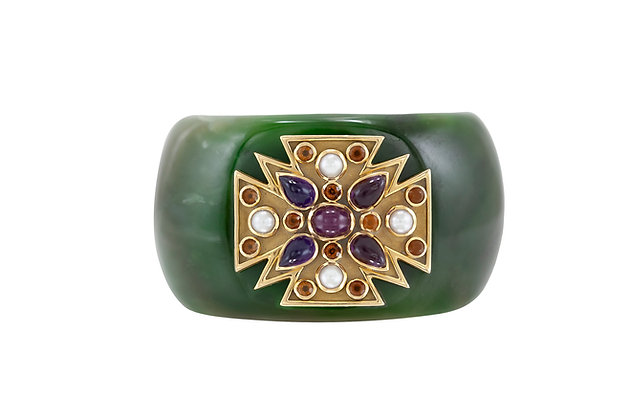 "Verdura Green Jade ""Maltese"" Cuff Bracelet"
