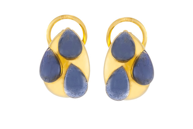 "Pomellato ""Goccia"" Earrings with Labradorite front"