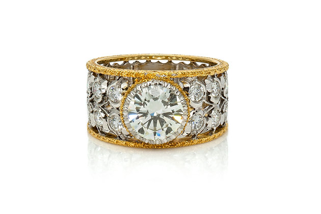 Buccellati Two Tone Diamond Ring Front View