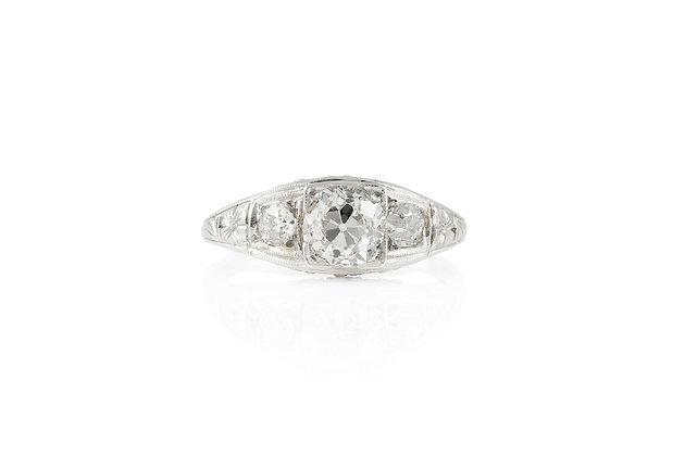 0.87 Carat Antique Art Deco Engagement Ring Top