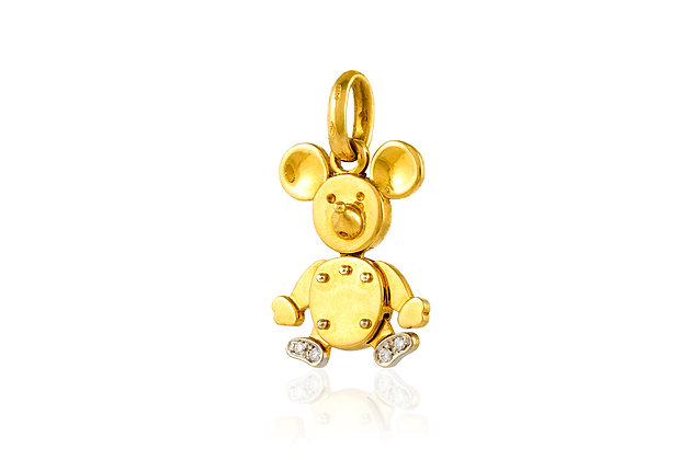 Pomellato Animated Baby Mickey Charm Pendant Front View