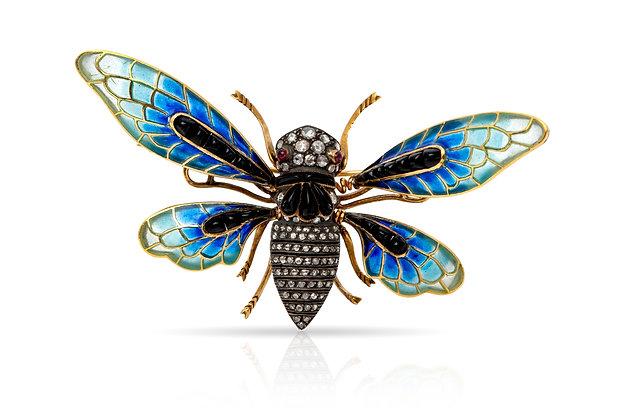 Cicada Onyx Diamond Ruby Brooch Front View