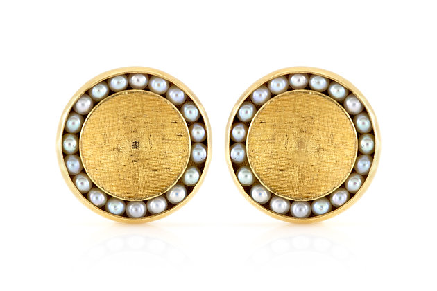 Round Gold Cufflinks with Pearls front