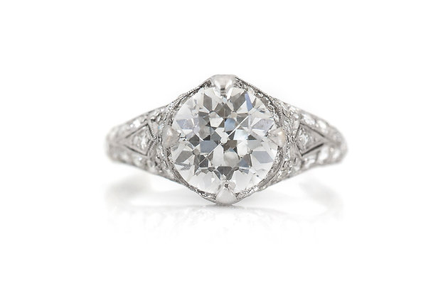 2.15 Carat Art Deco Engagement Ring top view