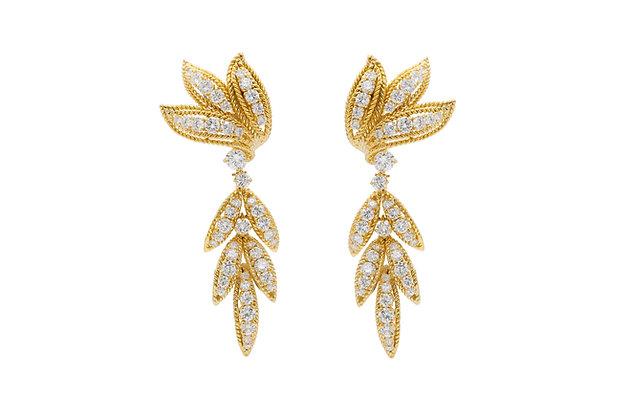 Van Cleef & Arpels Diamond Gold Leaf Dangle Earrings