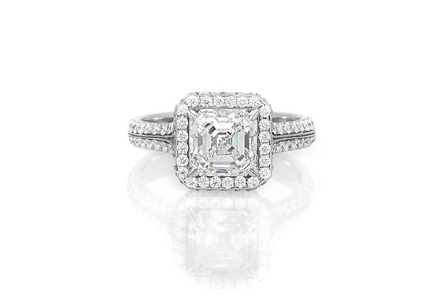 2.00 Carat Halo Diamond Engagement Ring top view