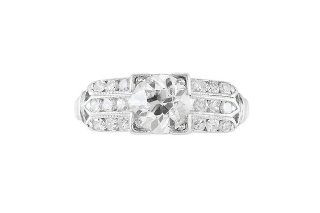 Art Deco Engagement Ring with Three parallel Diamond Setting