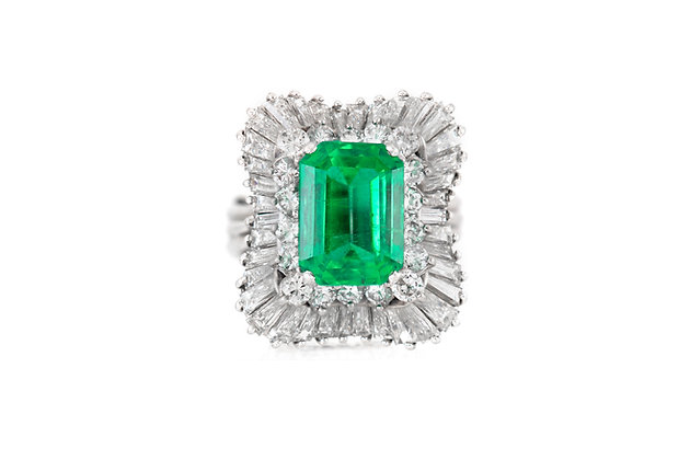 Platinum AGL Colombian Emerald and Diamond Ring