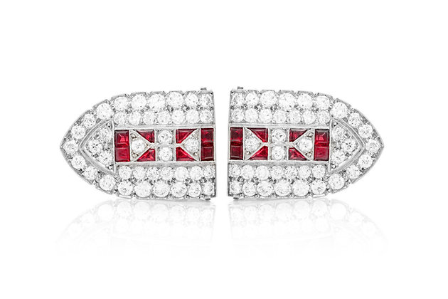 Diamond Ruby Double Clip Front View