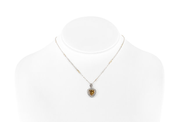 Heart-Shaped Citrine Pendant-Necklace with Diamonds on bust