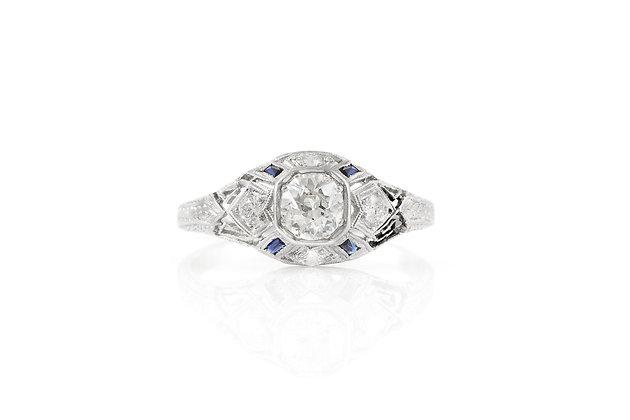 0.80 Carat Antique Art Deco Engagement Ring Top