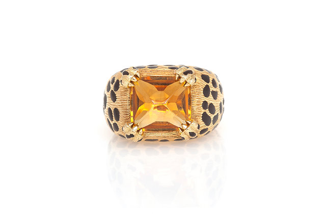 Dior Citrine & Enamel Leopard Print Ring top view
