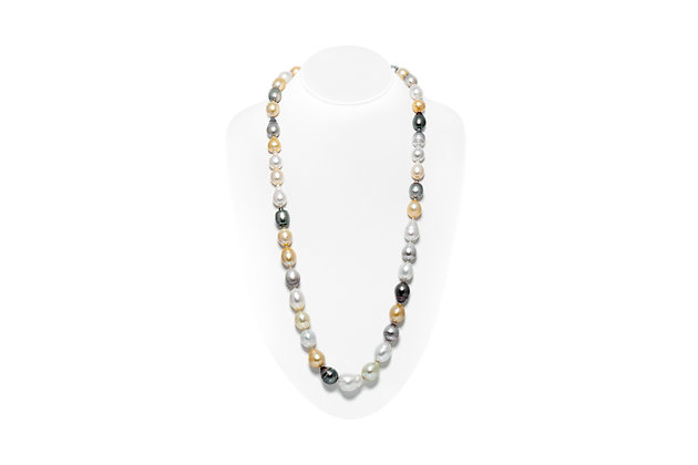 Baroque Pearl Necklace On Neck View