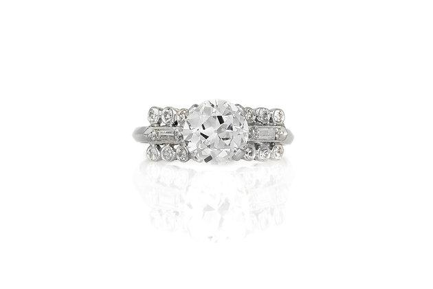 1.55 Carat Art Deco Engagement Ring top view