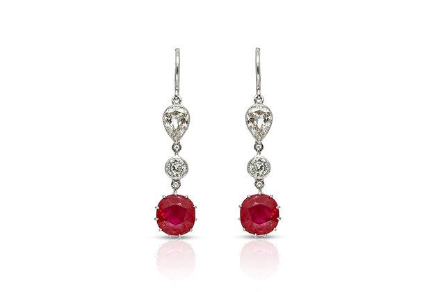 Ruby Diamond Drop Earrings Front View