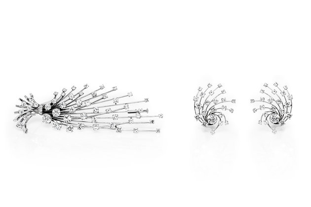 Diamond Pin Earrings Set Front View