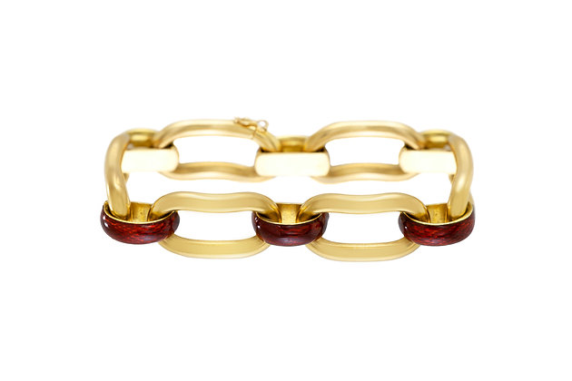 Unoaerre 18k Gold Link Bracelet with Red Enamel