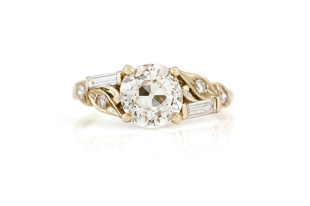1.80 Carat Art Deco Engagement Ring top view