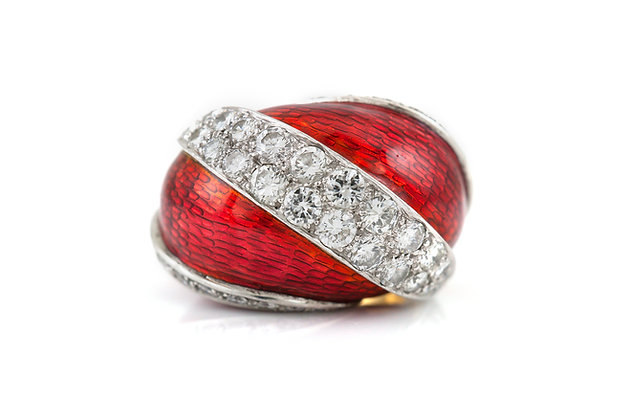 Convertible Platinum Cocktail Ring with Diamonds top