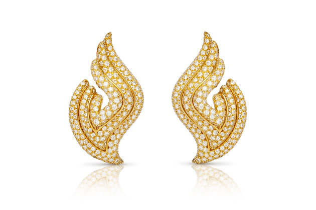 Clip-On Diamond Wing Earrings Front View
