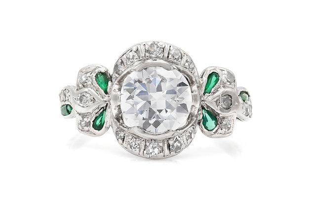 Edwardian 1.30 Carat Old Mine Cut Diamond Ring with Emeralds