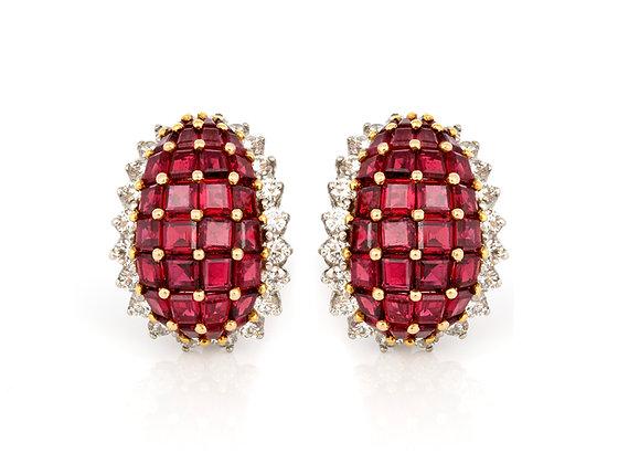 Oscar Heyman Ruby Earrings front