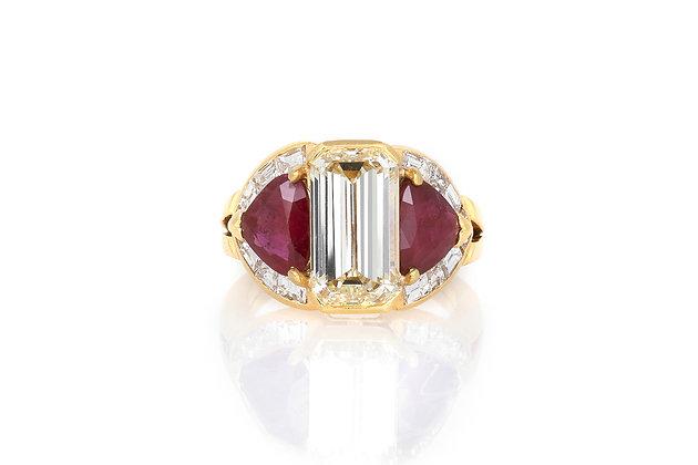 3.47 Emerald Cut Diamond & Ruby Ring top view