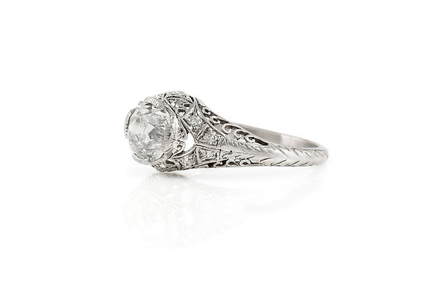 1.25 Carat Edwardian Engagement Ring Angle