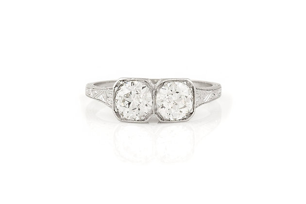 Two Old European Cut Diamond Ring front